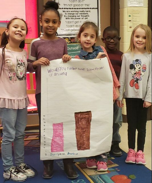 Ms. Wood's first grade class has been working on collecting, organizing and representing various forms of data in math. On Tuesday the students had to create a bar graph using data they collected from students in their class on would they rather have ice cream or a brownie