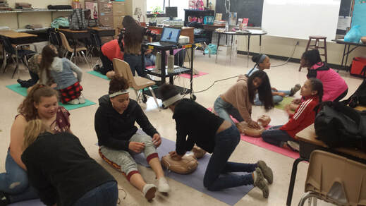 Mrs. Smith's 6th grade health students learn to save lives using the