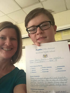 7th grade student receives kudos for his exemplary character.