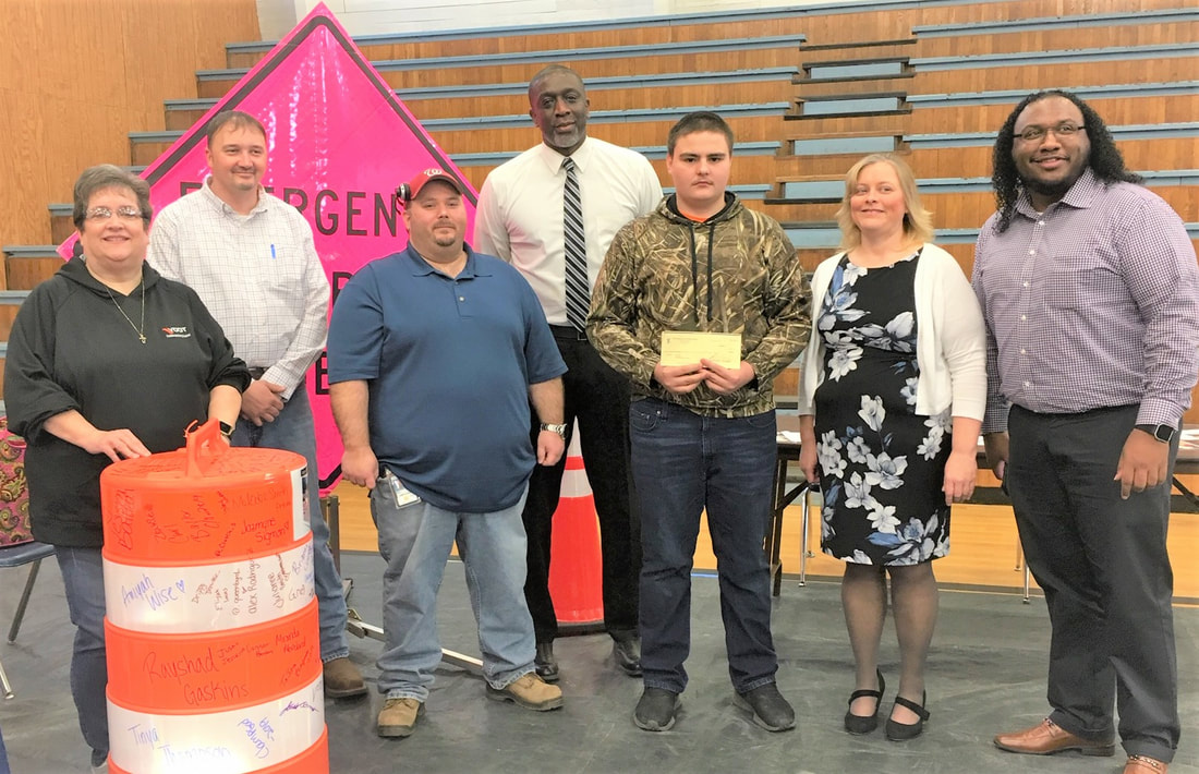 Ms. Sanders received word that CTE student Colt Jett won the student prize of $250. Washington & Lee High School will also receive a check to help support the CTE program.    Mr. Jett received his check from the VDOT representatives at the Career Fair.