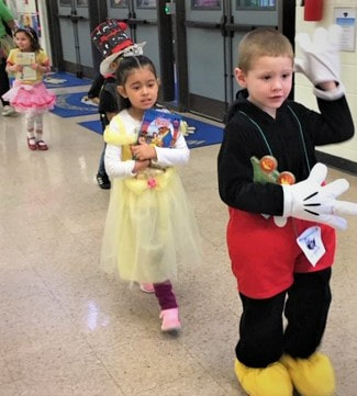 Young WD students in the book parade